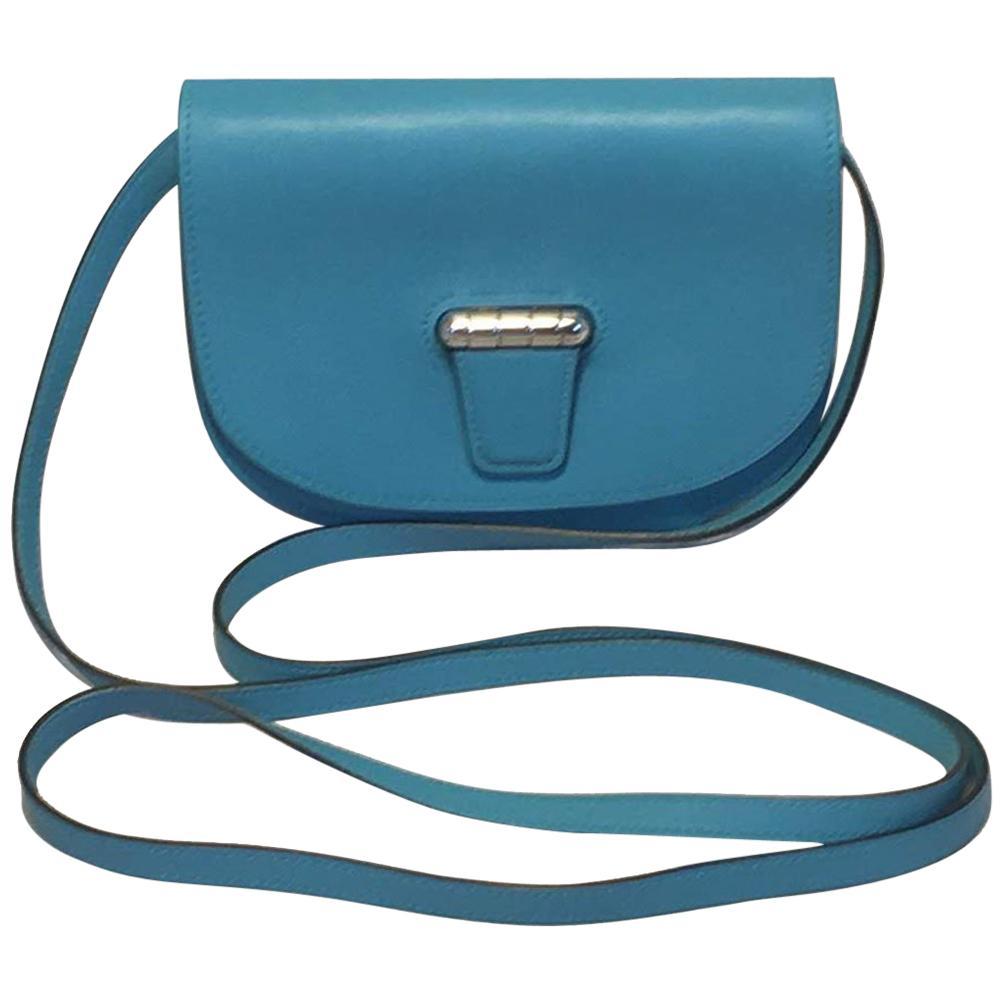 NWOT Hermes Teal Swift Leather Convoyeur Mini Messenger Crossbody Shoulder Bag