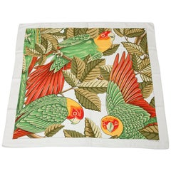 """Hermes """"Les Perroquets in Detail"""" Silk Twill Carre Scarf"""