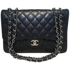 Chanel Black Caviar Jumbo Single Flap Classic Shoulder Bag