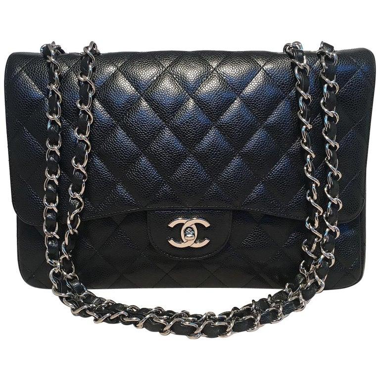 Chanel Black Caviar Jumbo Single Flap Classic Shoulder Bag