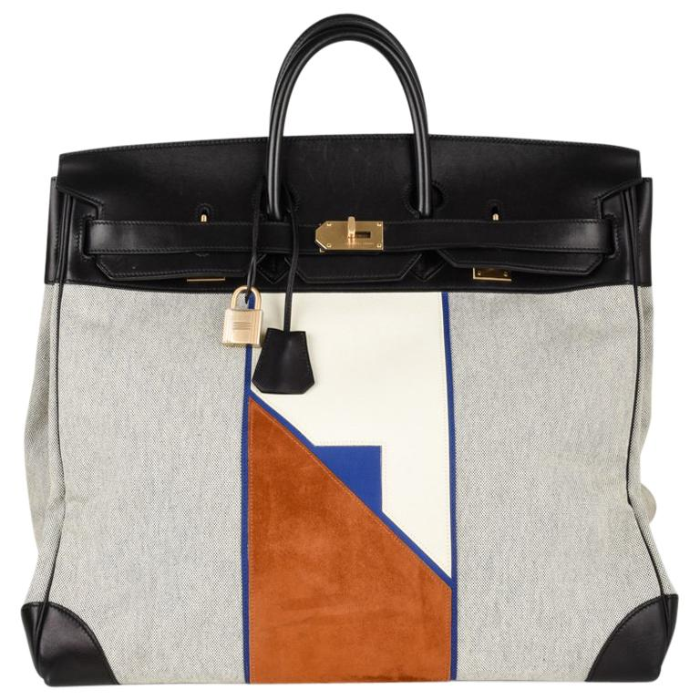 33eb6137750 Hermes Birkin 50 Bag Limited Edition Flag Hac Leather Suede Toile  Permabrass For Sale