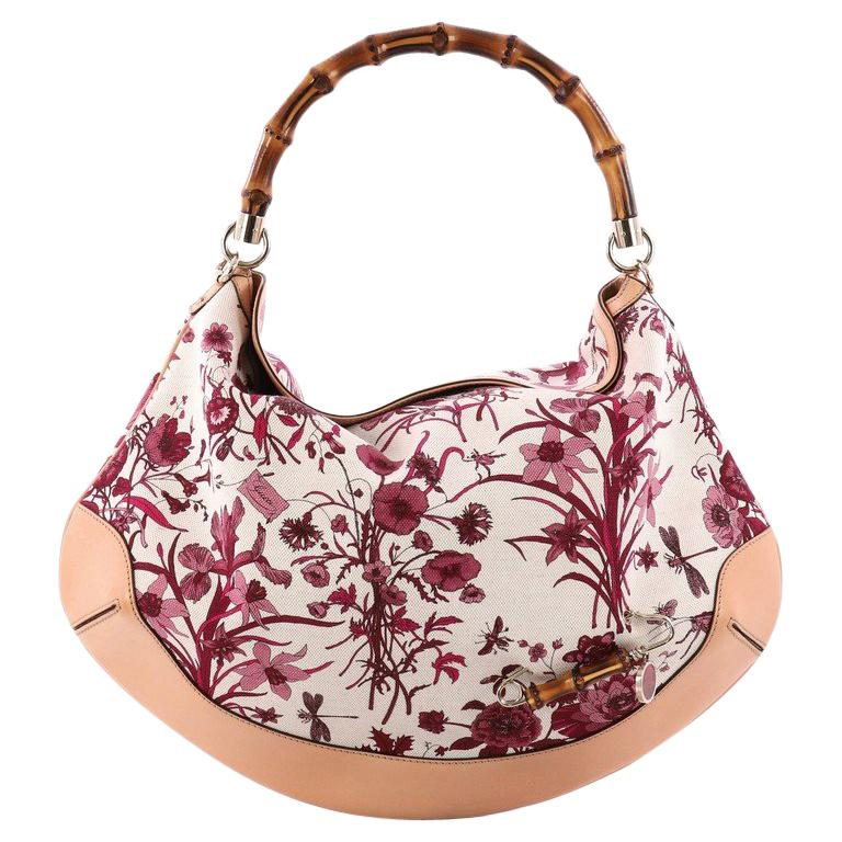 8a1e08ce8338 Gucci Peggy Bamboo Handle Hobo Flora Canvas at 1stdibs