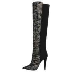 Giuseppe Zanotti Black Suede Crystal Over Knee Heels Boots