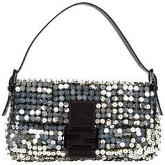 Fendi Bag Baguette Raised Silver Metallic Sequined and Beaded