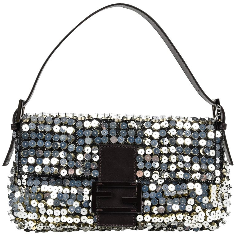 8883adaa9c84 Fendi Bag Baguette Raised Silver Metallic Sequined and Beaded For Sale