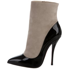 Christian Louboutin Nude Suede Black Patient Ankle Booties Boots