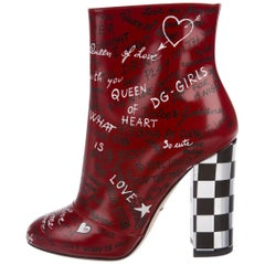 Dolce & Gabbana Red White Black Writing Block Heel Ankle Booties Boots