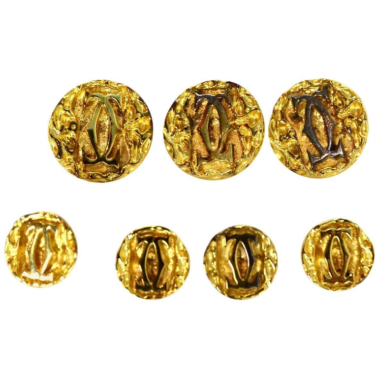 Cartier Set of 7 Vermeil Goldtone Logo Shank Buttons in Box