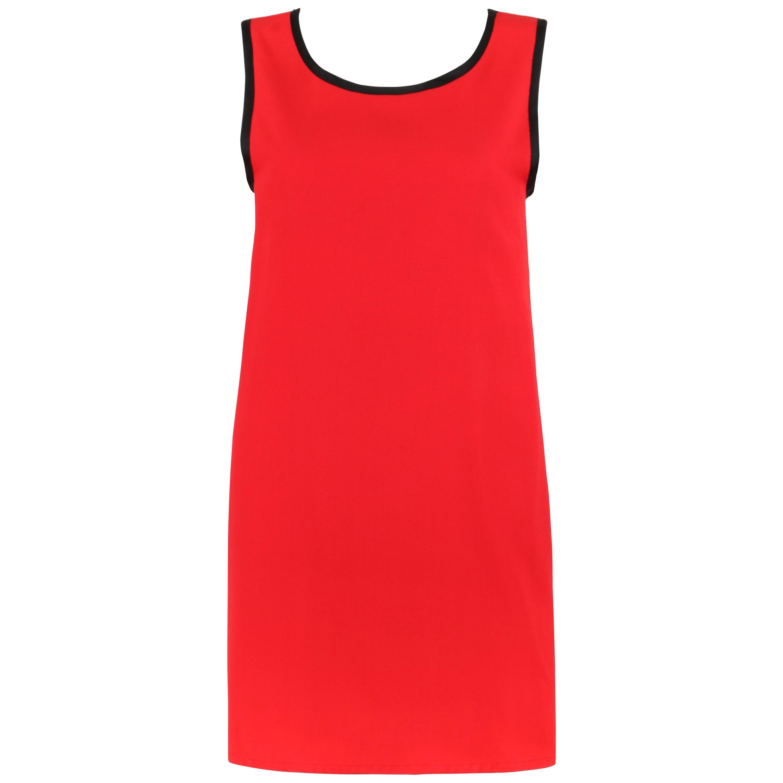 YVES SAINT LAURENT c.1980's YSL Red & Black Scoop Neck Tunic Top / Dress