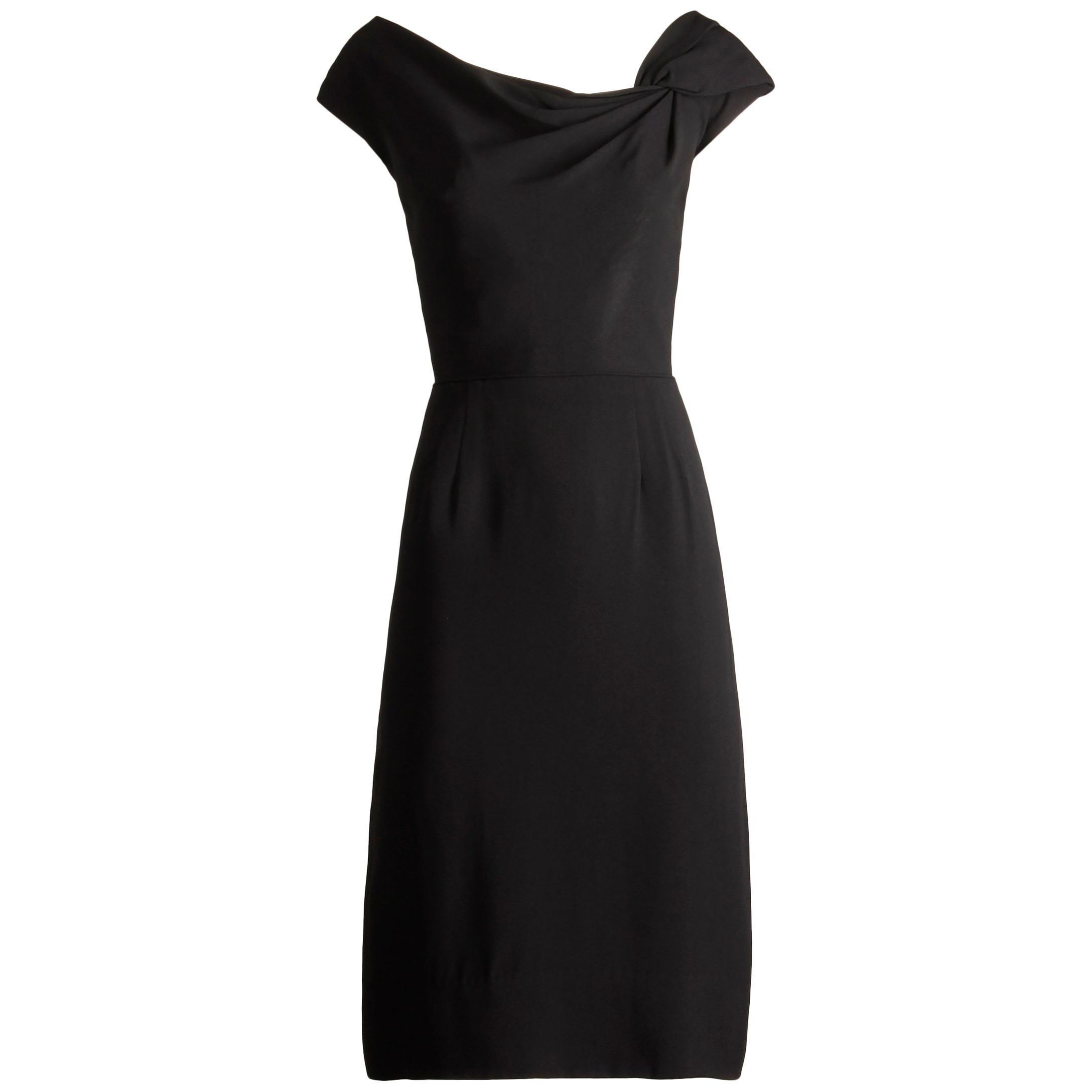 1950s Dorothy O'Hara Vintage Black Asymmetric Cocktail Sheath Dress