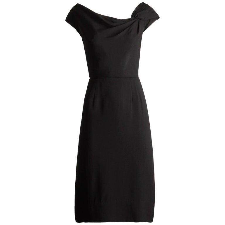 1950s Dorothy O'Hara Vintage Black Asymmetric Cocktail Sheath Dress  For Sale
