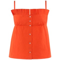 LOUIS VUITTON S/S 2003 Orange Knife Pleated Button Down Tank Top
