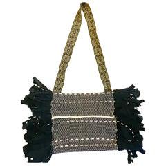 Black & Ivory Fringed Crossbody Bag
