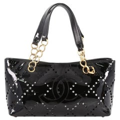 Chanel CC Chain Tote Perforated Patent Small
