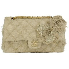 Chanel Runway 2010 Classic Flap Straw Camelia Rope Classic Flap Bag