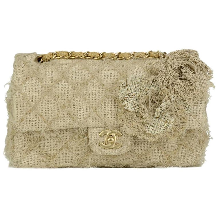Chanel Runway 2010 Classic Flap Straw Camelia Rope Classic Flap Bag For Sale