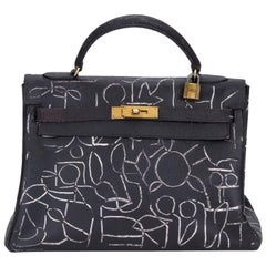 27680f5a261b Hermes One-of-a-kind Vintage Kelly Hand Painted by Artist Marco Lorenzetto
