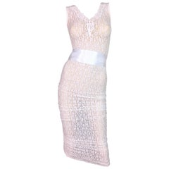 S/S 2006 NWT D&G by Dolce & Gabbana Runway Sheer White Lace Wiggle Dress