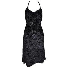 F/W 1994 Vivienne Westwood Gold Label Sheer Black Faux Fur Halter Dress