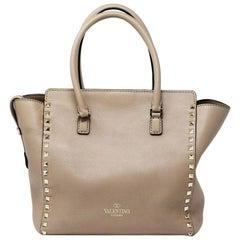 Valentino Rockstud Trapeze Medium Tan Leather Gold Studded Shoulder Bag Tote