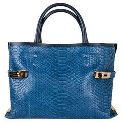 Chloe Bag Charlotte Tote Blue Python Large