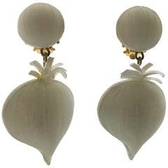 Cilea Paris French enameline Garlic Earrings