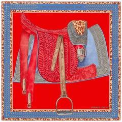Hermès Sellerie d'Officier en Grande Tenue Shawl Cachemere Silk  140 /BRAND NEW