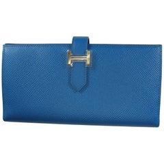 Hermès Bleu Electrique Epsom Leather H Palladium Bearn Wallet