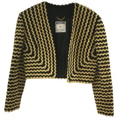 Moschino Couture Black Gold Wool Jacket