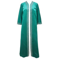 C.1960 British Hong Kong Jade Green Beaded Satin Caftan Robe Evening Coat