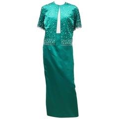 C.1960 British Hong Kong Jade Green Beaded Satin Cropped Top Jacket & Skirt