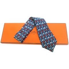 Hermes Paris Nautical Sailboat Silk Necktie in Hermes box c 1980s