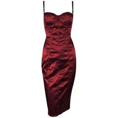 1996 Dolce & Gabbana Metallic Red Corset Wiggle Pin-Up Dress