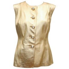 1980's Yves Saint Laurent Gold Leather Vest With Rhinestone Buttons