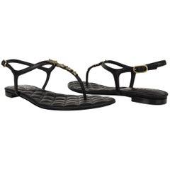 Chanel Shoe Paris Dallas CC Star Black T-Strap Thong Sandals 38C / 8 New