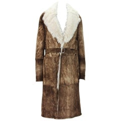 Tom Ford for Gucci Men's Brown Shearling Suede Long Winter Coat It.54 - US 44