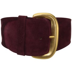 1980's Robert Lee Morris for Donna Karan Burgundy Suede Leather Belt
