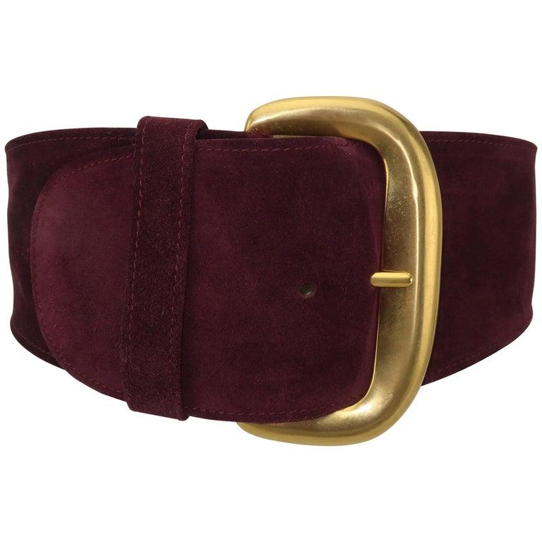 1980's Robert Lee Morris for Donna Karan Burgundy Suede Leather Belt