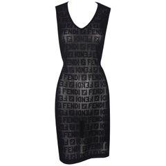 1990's Fendi Sheer Black Zucca Monogram Knit Wiggle Mini Dress