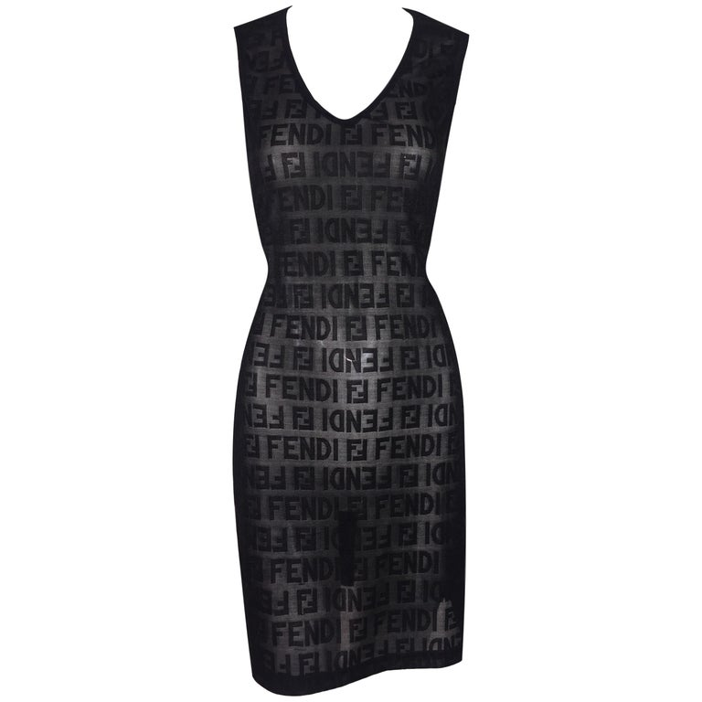 1990s Fendi Sheer Black Zucca Monogram Knit Wiggle Mini Dress For