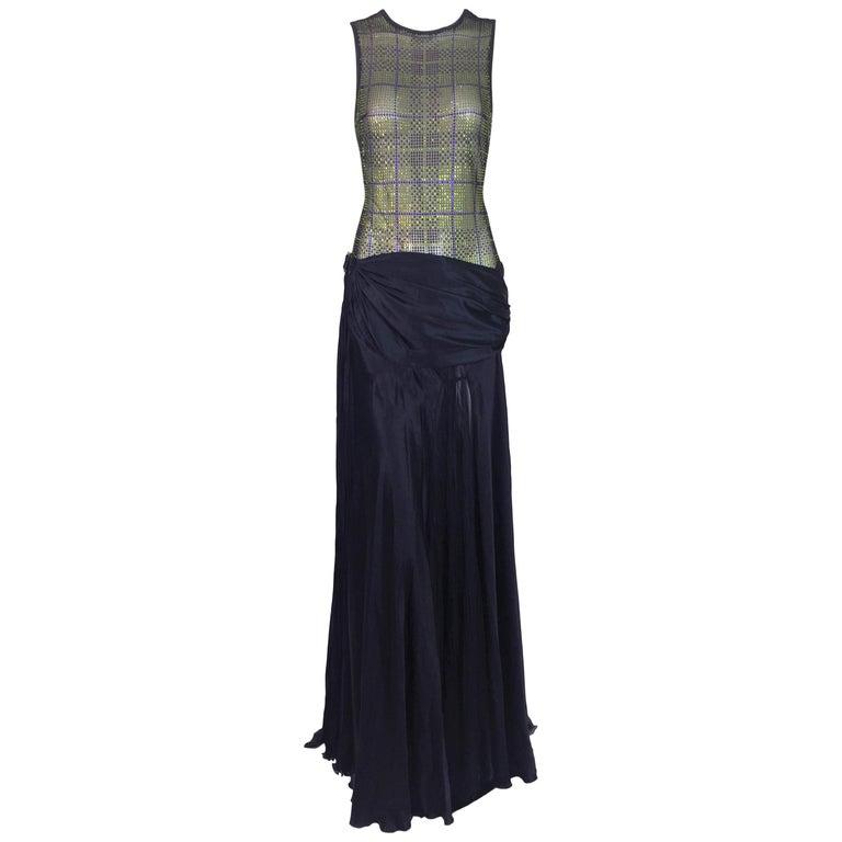F/W 2004 Versace Runway Sheer Crystal Bodysuit & Navy Blue Long Skirt Ensemble For Sale