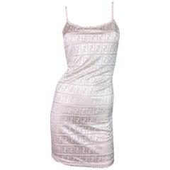 1990's Fendi Nude Pearl Zucca Monogram Slip Dress