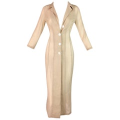 S/S 1997 Dolce & Gabbana Runway Sheer Nude Tan Silk Button Down Dress Jacket