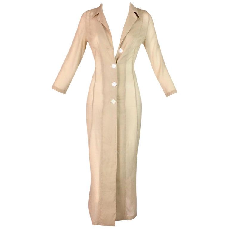 S/S 1997 Dolce & Gabbana Runway Sheer Nude Tan Silk Button Down Dress Jacket