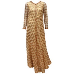 1960's Anne Fogarty Gold Lamé Dress With Trapeze Sequin & Lace Overlay