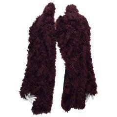 Maison Martin Margiela Maroon Angora Fur Coat Size S