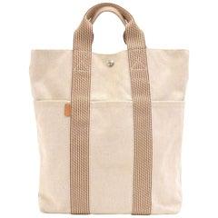Hermes Fourre Tout Beige & Brown Canvas Triple Pocket Tote Bag