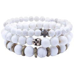 Stacking Organic Skull and Cross Bracelet Set- White Turquoise