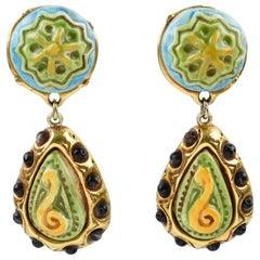 Kalinger Paris Clip on Earrings Dangle Gilt Resin with Green Blue Ceramic
