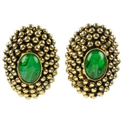 French Artisan Designer Clip on Earrings Gilt Metal with Poured Glass Cabochon